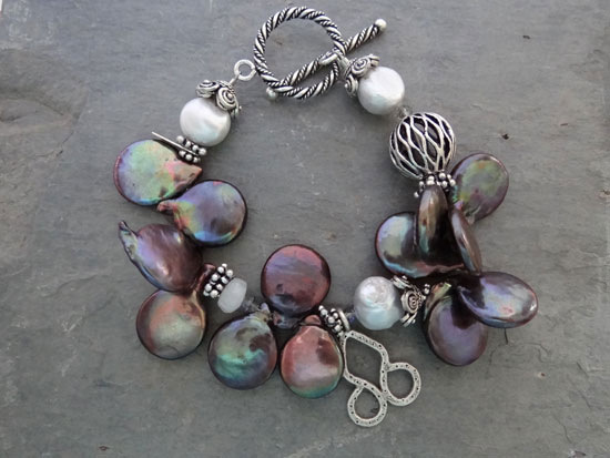 Image of Top-drilled Blue Coin Pearl Bracelet