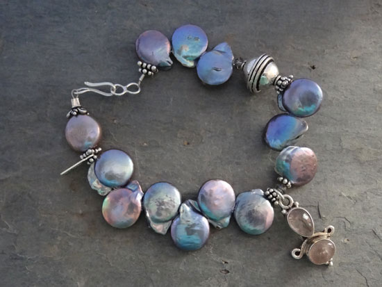 Image of Pale Blue Coin Pearl Bracelet