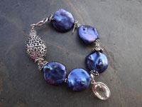 Image of Electric Blue Coin Pearl Bracelet