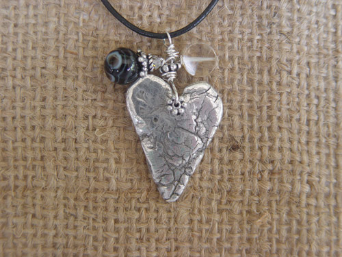 Image of Birthstone Heart Charm Leather Necklace