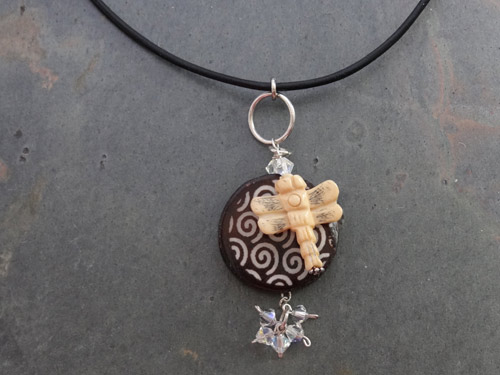 Image of Dragonfly and Bone Necklace