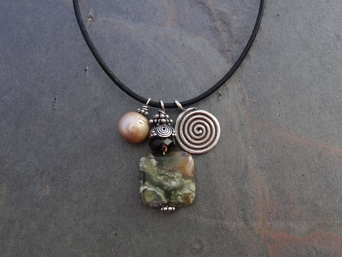 Image of Rhyolite and Spiral Bead Necklace
