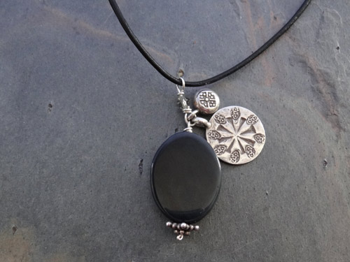Image of Onyx and Silver Charms Necklace
