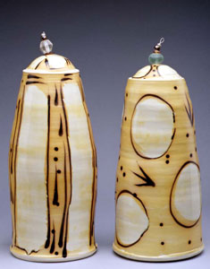 yellow and white pottery pieces